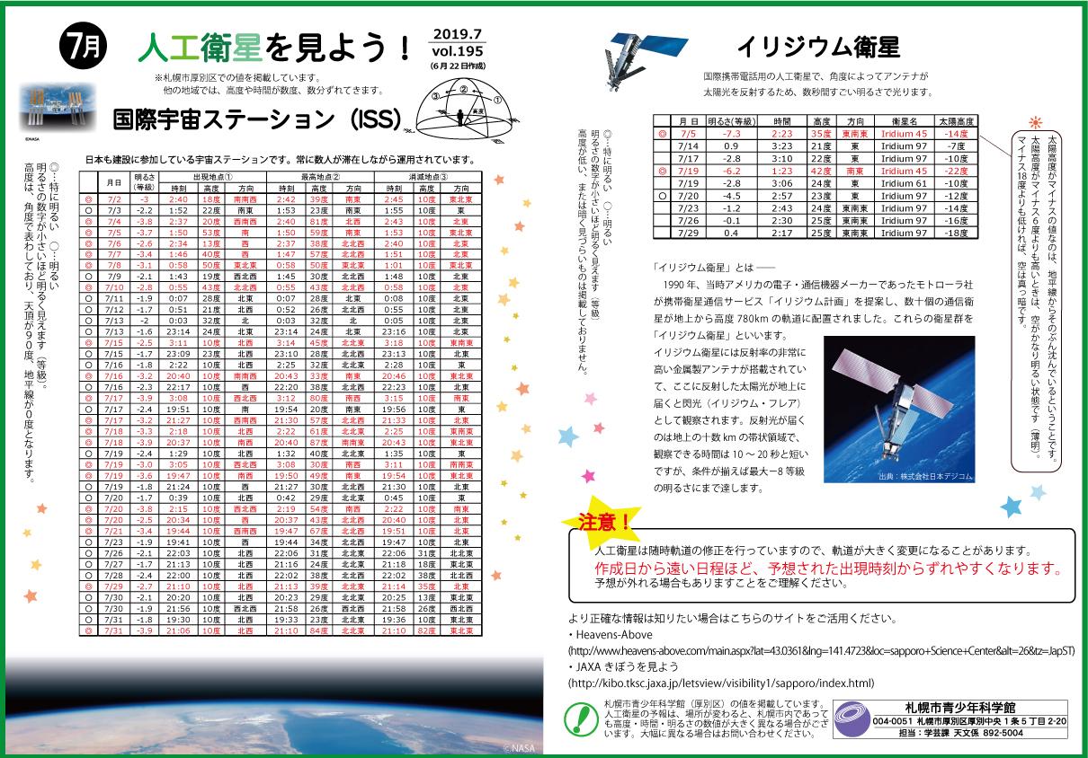 7月の人工衛星